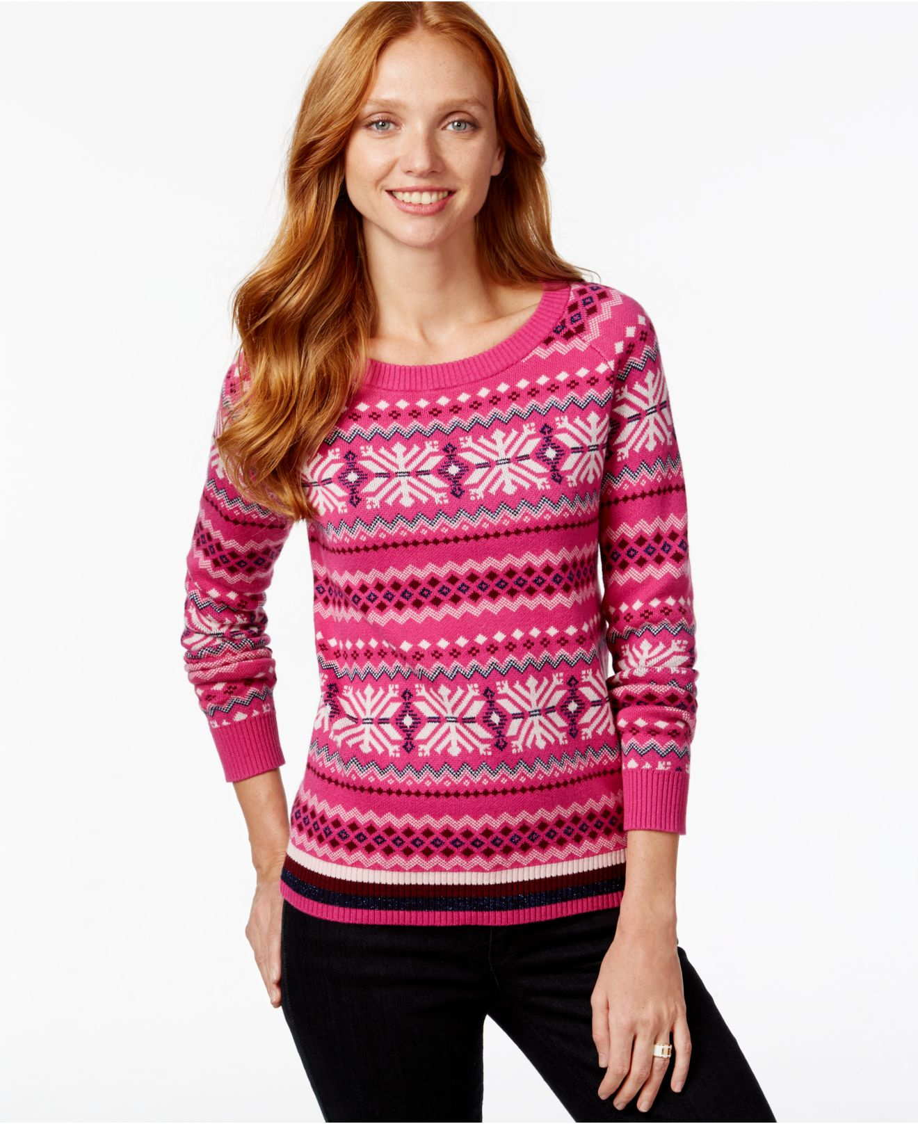 Tommy hilfiger Printed Fairisle Sweater in Pink | Lyst