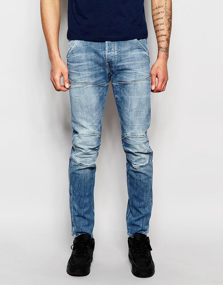 lyst g star raw jeans elwood 5620 3d slim fit stretch light aged in blue for men. Black Bedroom Furniture Sets. Home Design Ideas