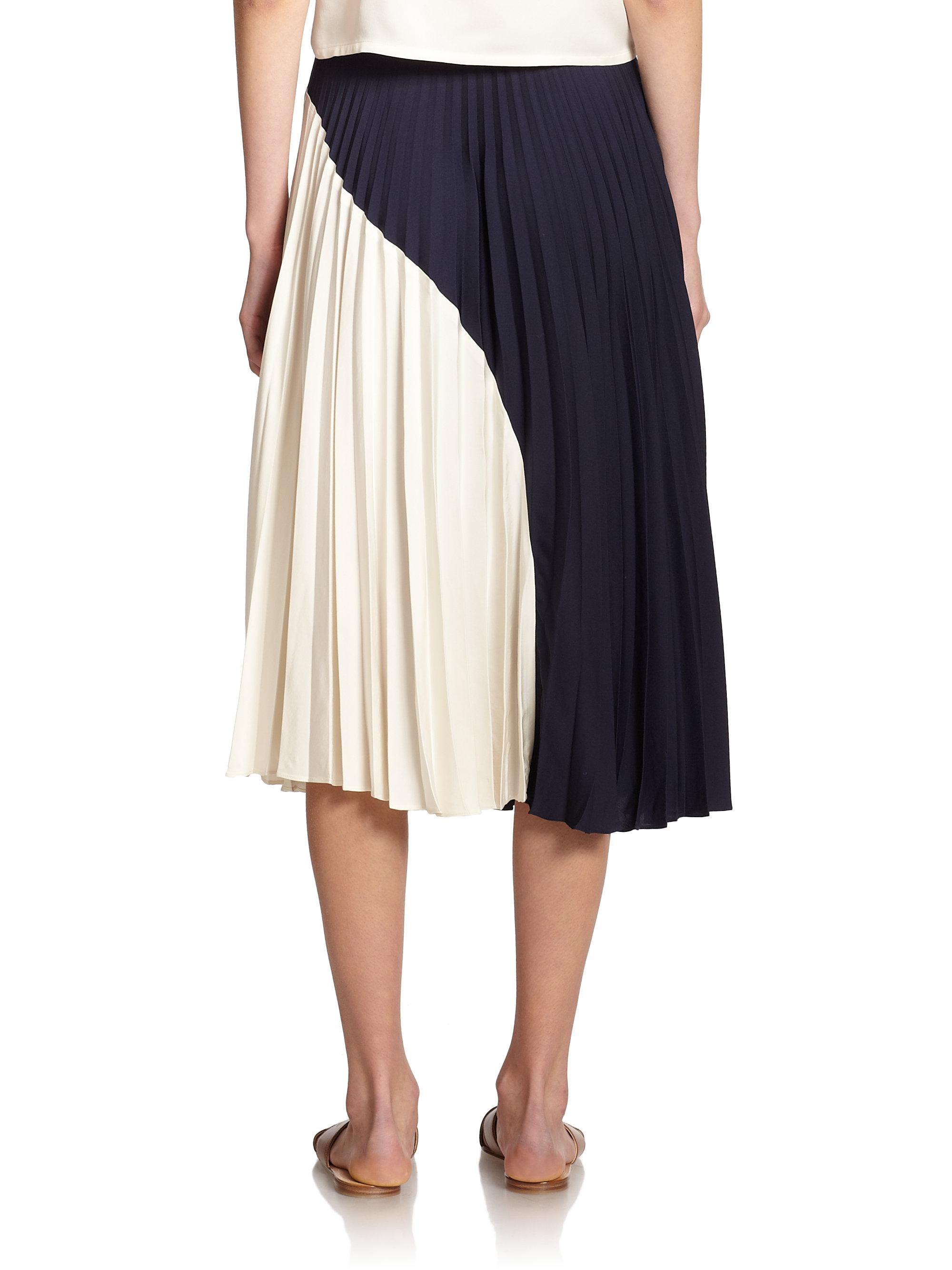 Theory Zeyn Modern Silk Georgette Midi Skirt in Blue   Lyst