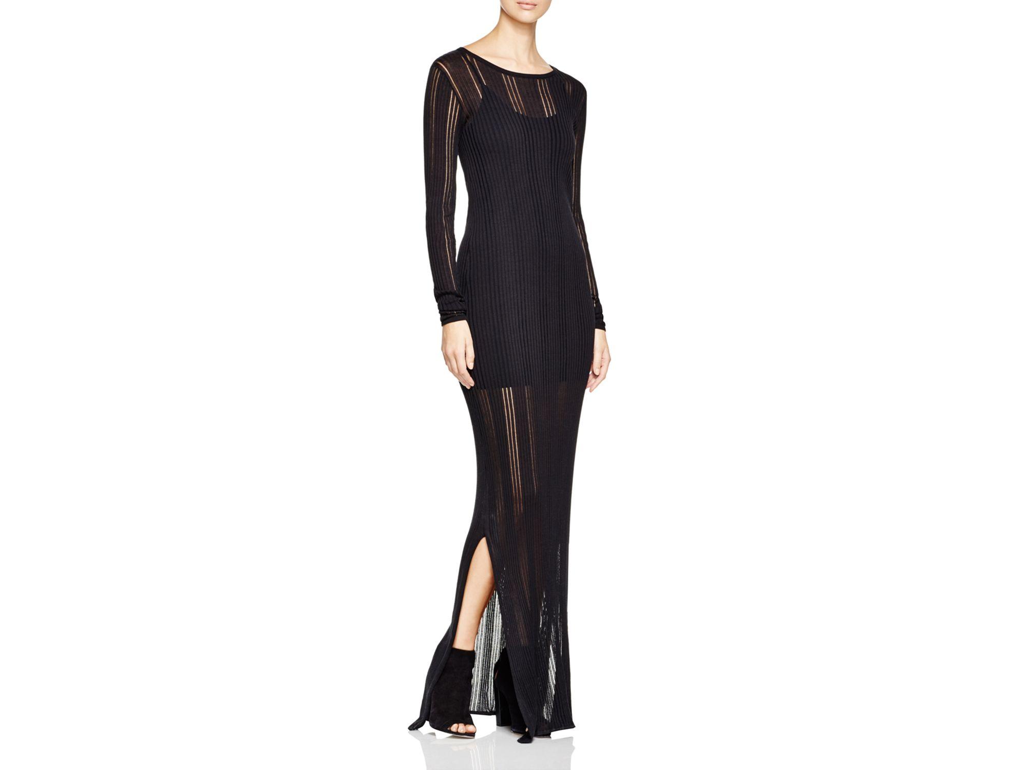 4bd1b1d88da Lyst - DKNY Sheer Rib Knit Maxi Dress in Black