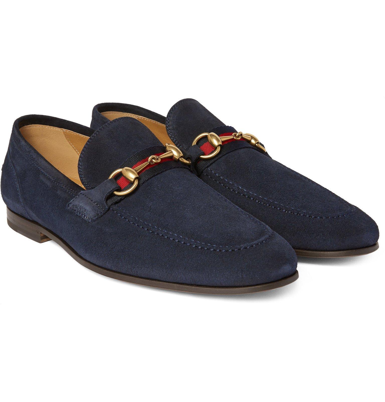 gucci horsebit webbing trimmed suede loafers in blue for men lyst. Black Bedroom Furniture Sets. Home Design Ideas