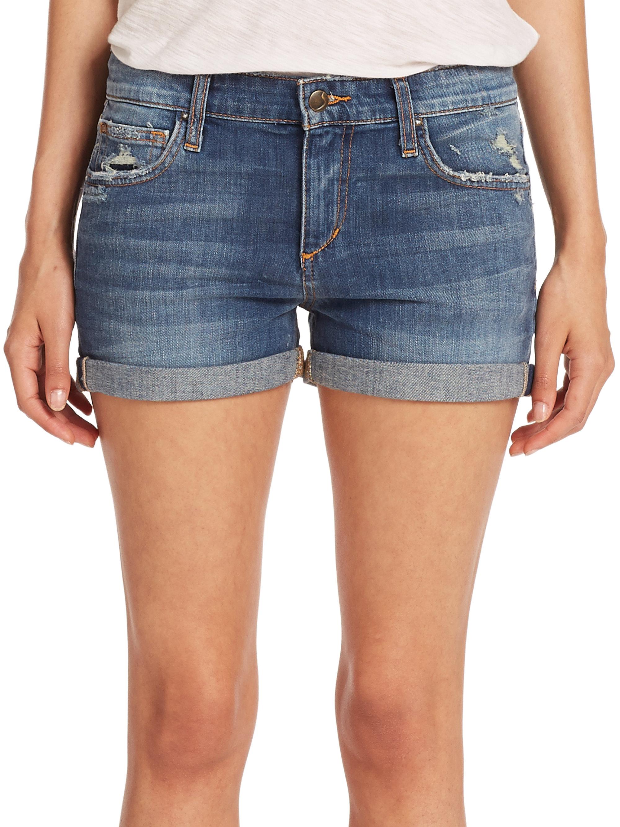Joe's jeans Celeste Distressed Roll-up Denim Shorts in Blue | Lyst