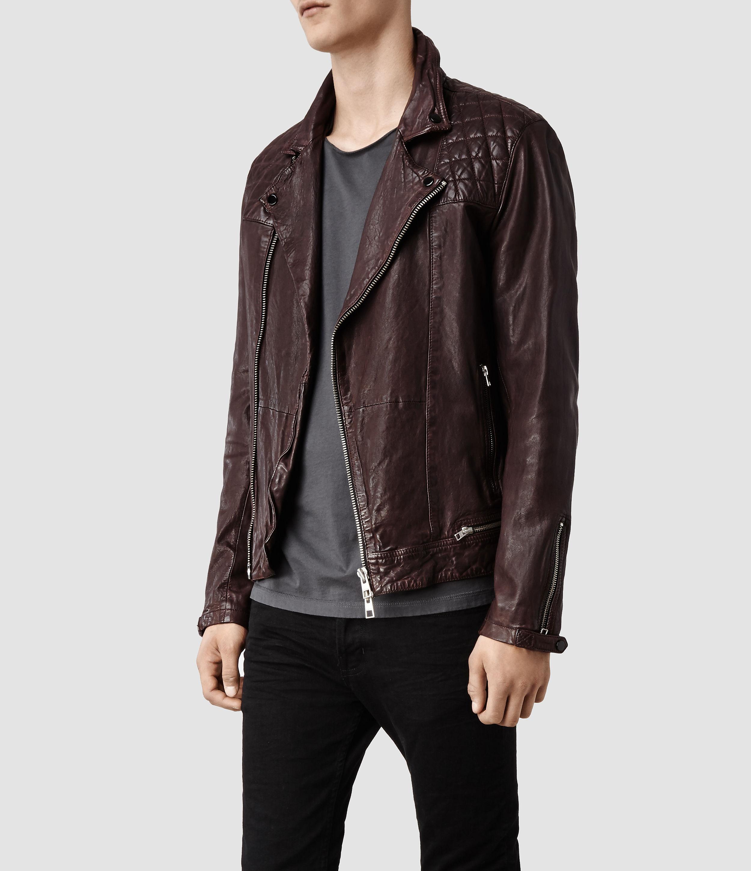 Allsaints Conroy Leather Biker Jacket In Purple For Men Lyst