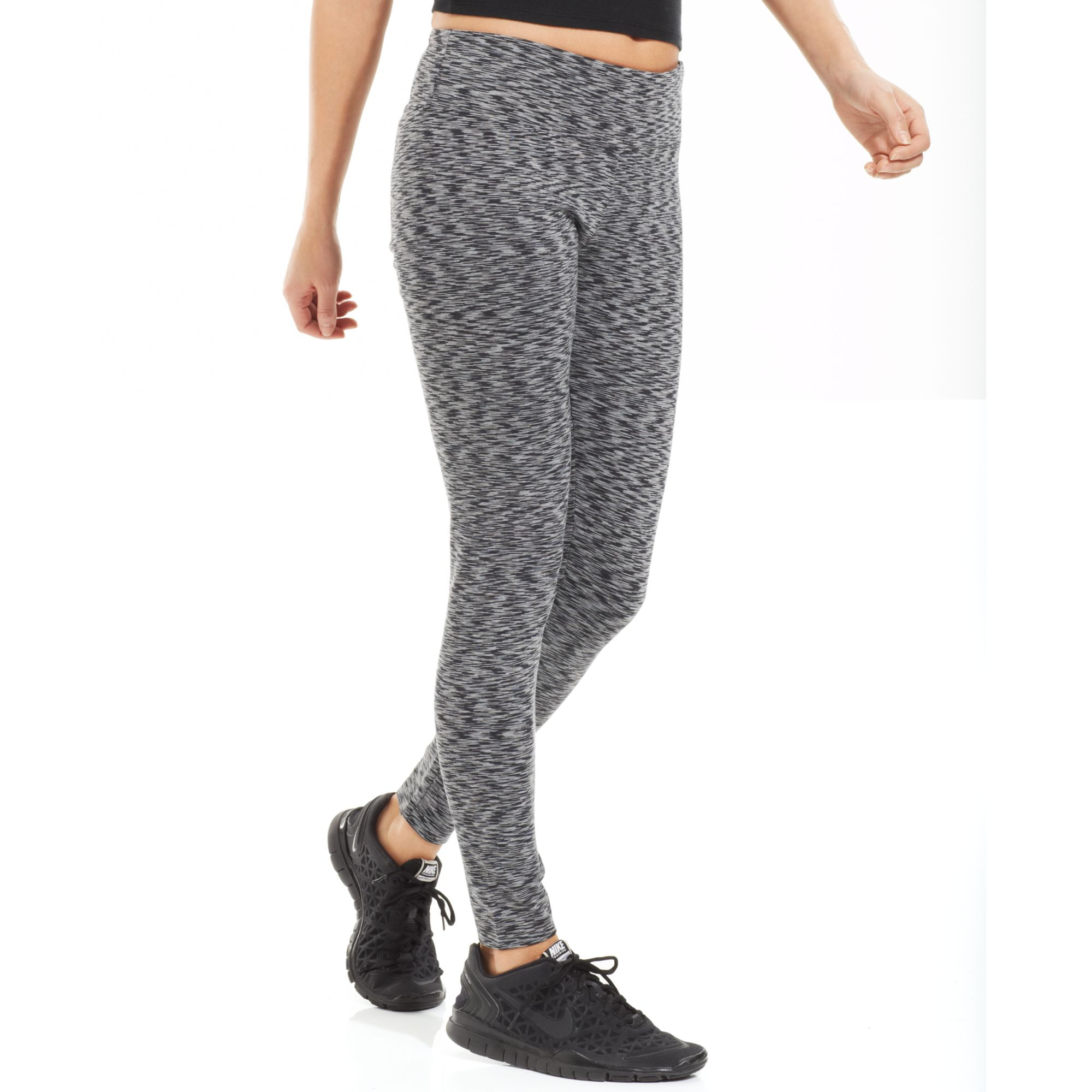 calvin klein space dye active leggings in gray charcoal lyst. Black Bedroom Furniture Sets. Home Design Ideas