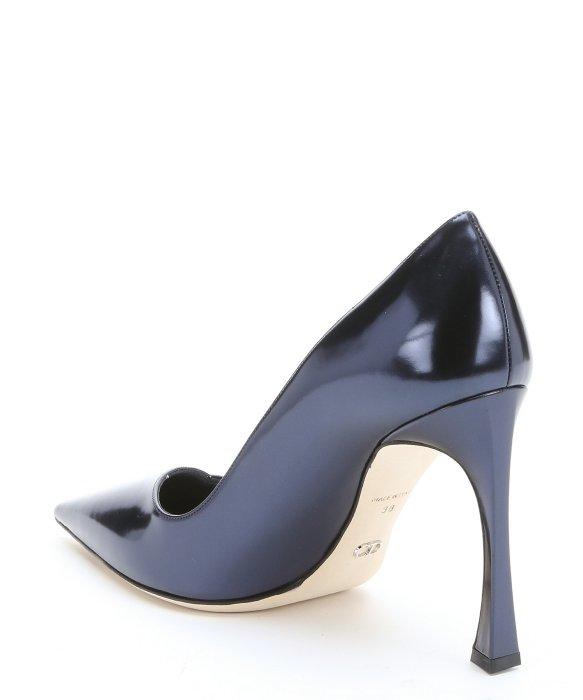 815739048ba Navy Blue Leather Heels - Js Heel