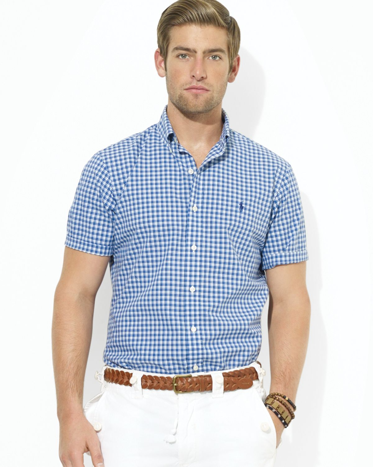 6092a3536ab ... short sleeved shirts for mens wygd akgqqd8 d7972 7951a  buy lyst ralph  lauren polo customfit shortsleeved checked poplin sport aa976 bc704