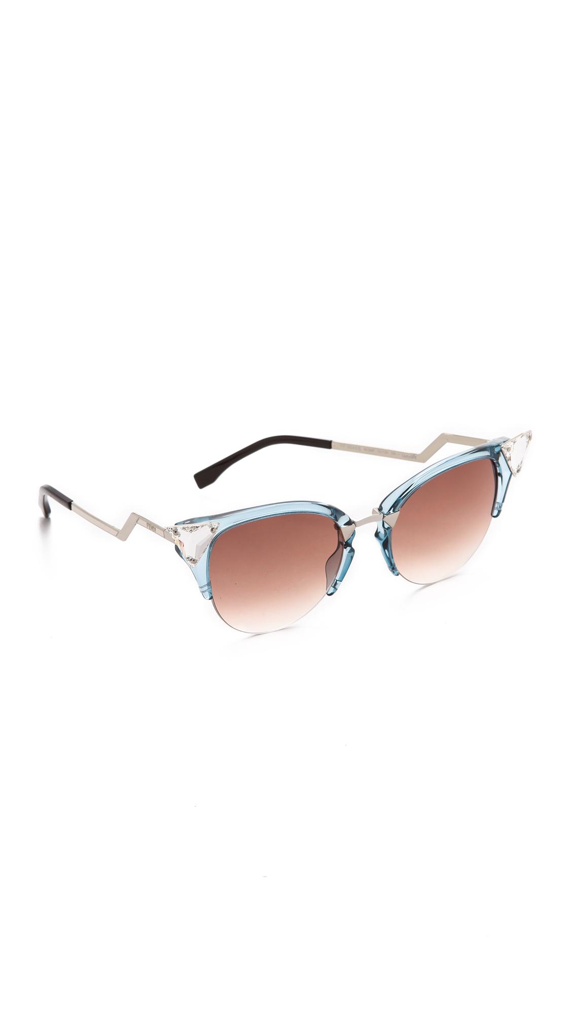 1197f5f751d Fendi Iridia Crystal Corner Sunglasses - Lyst