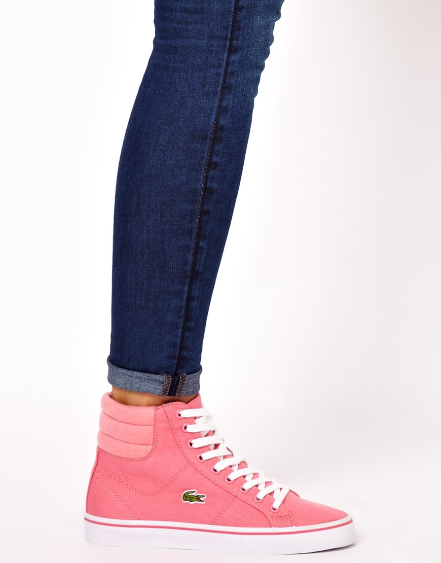 Lyst - Lacoste Marcel Mid Pink Hi Top Trainers in Pink ba9988c959d