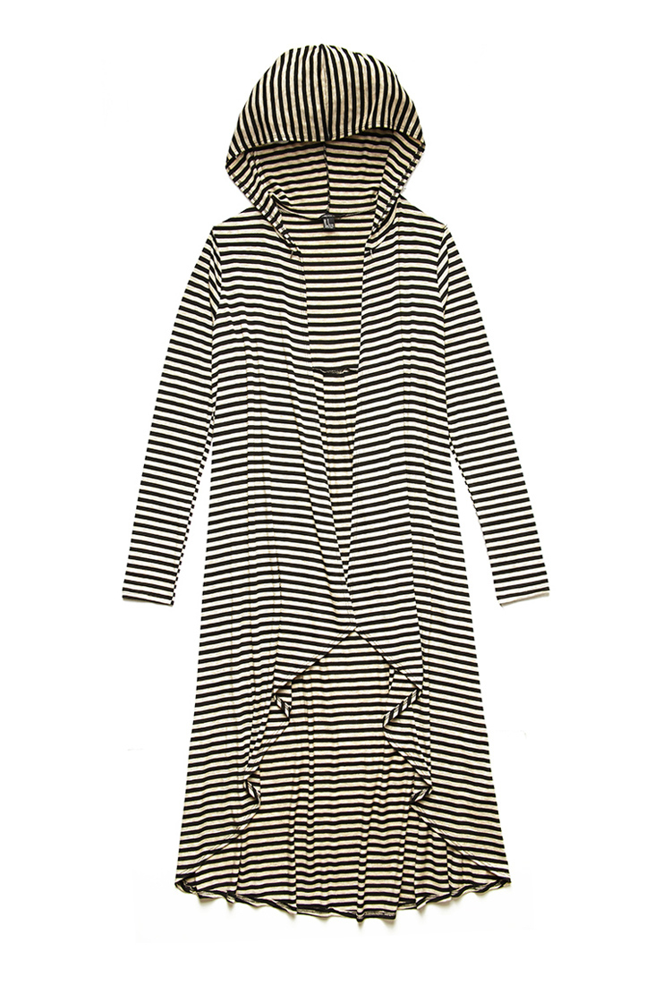 Forever 21 Surreal Striped Maxi Cardigan in Black | Lyst