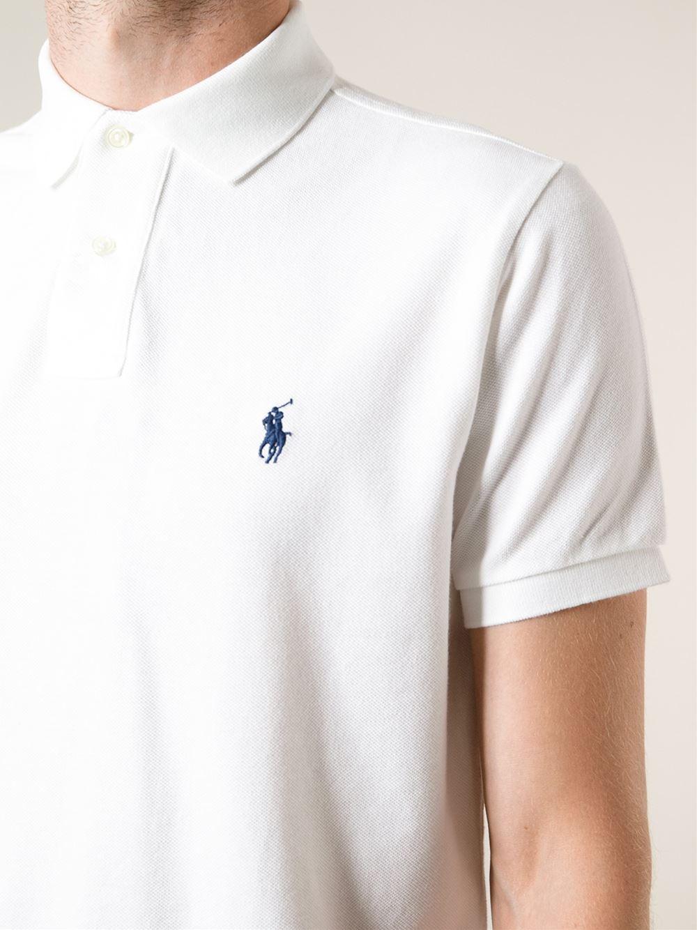 Lyst Polo Ralph Lauren Blue Logo Polo Shirt In White For Men