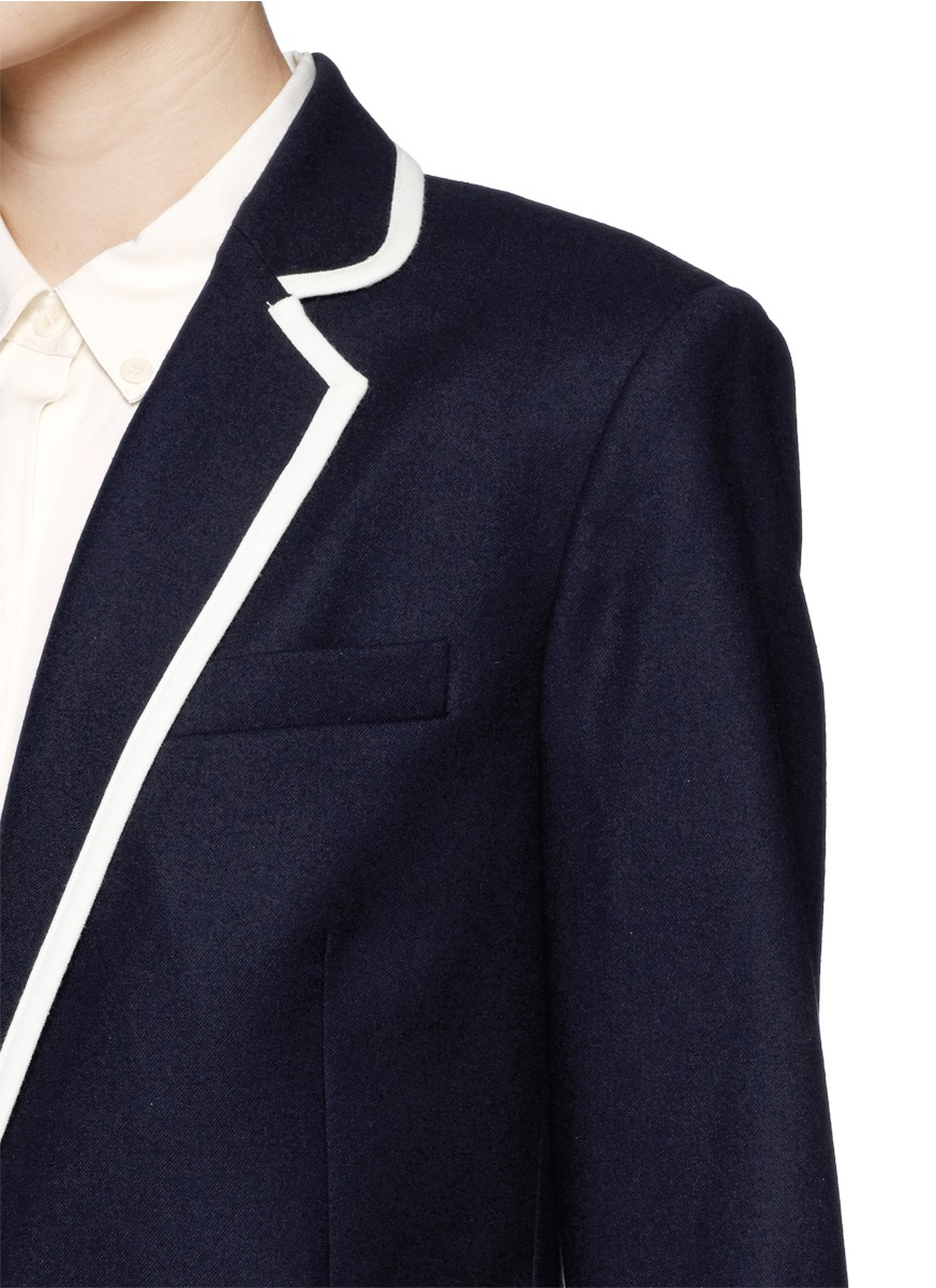 Theory Elisity Contrast Piping Flannel Blazer In Blue Lyst