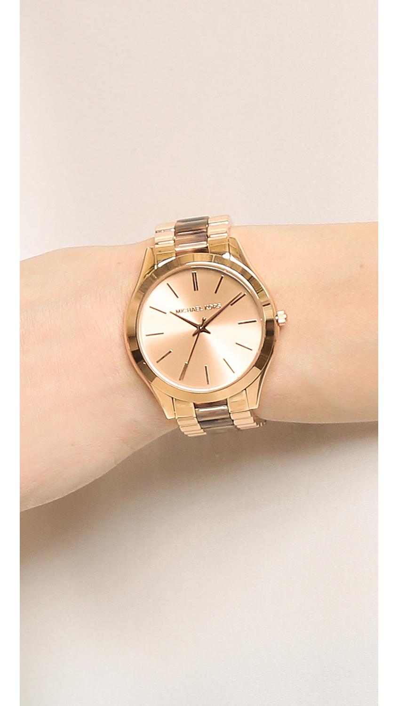 a870ff36d7e Lyst Michael Kors Slim Runway Watch Rose Gold Tortoise Blush In Pink