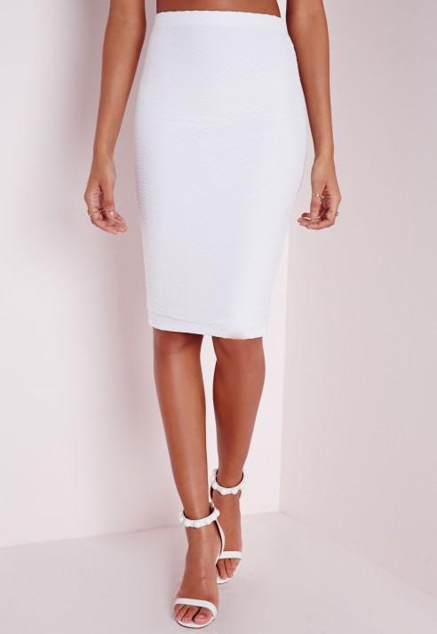missguided jacquard midi skirt white in white lyst