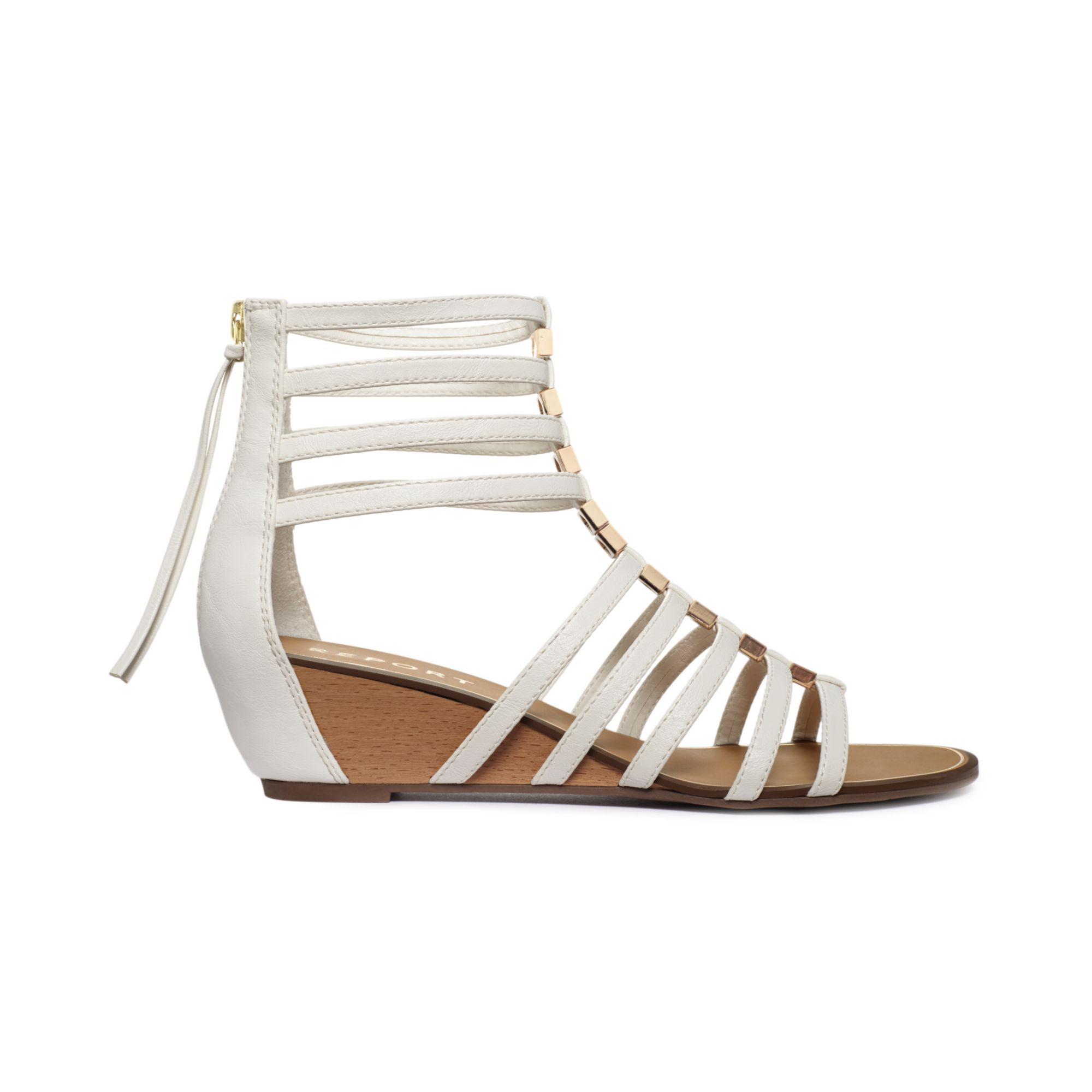 Report Megan Gladiator Wedge Sandals In White Lyst