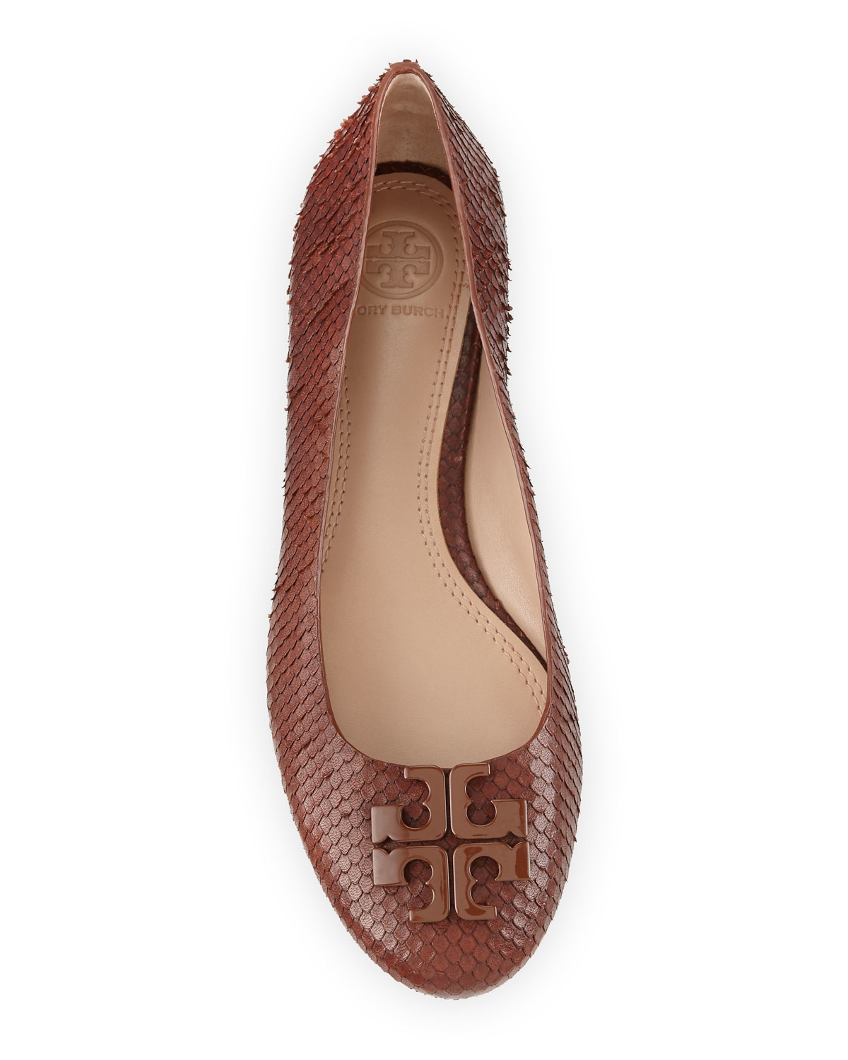 305b06449dc0 ... authentic lyst tory burch lowell 2 snake smbossed ballet flats in brown  0c117 eaa7c