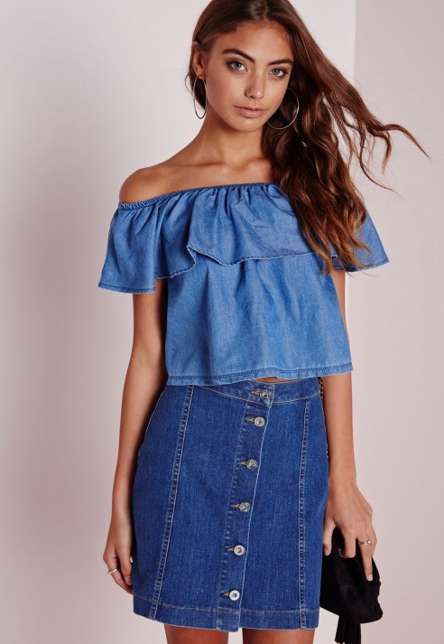3cdaceb6207f6 Lyst - Missguided Bardot Denim Top Chambray Blue in Blue