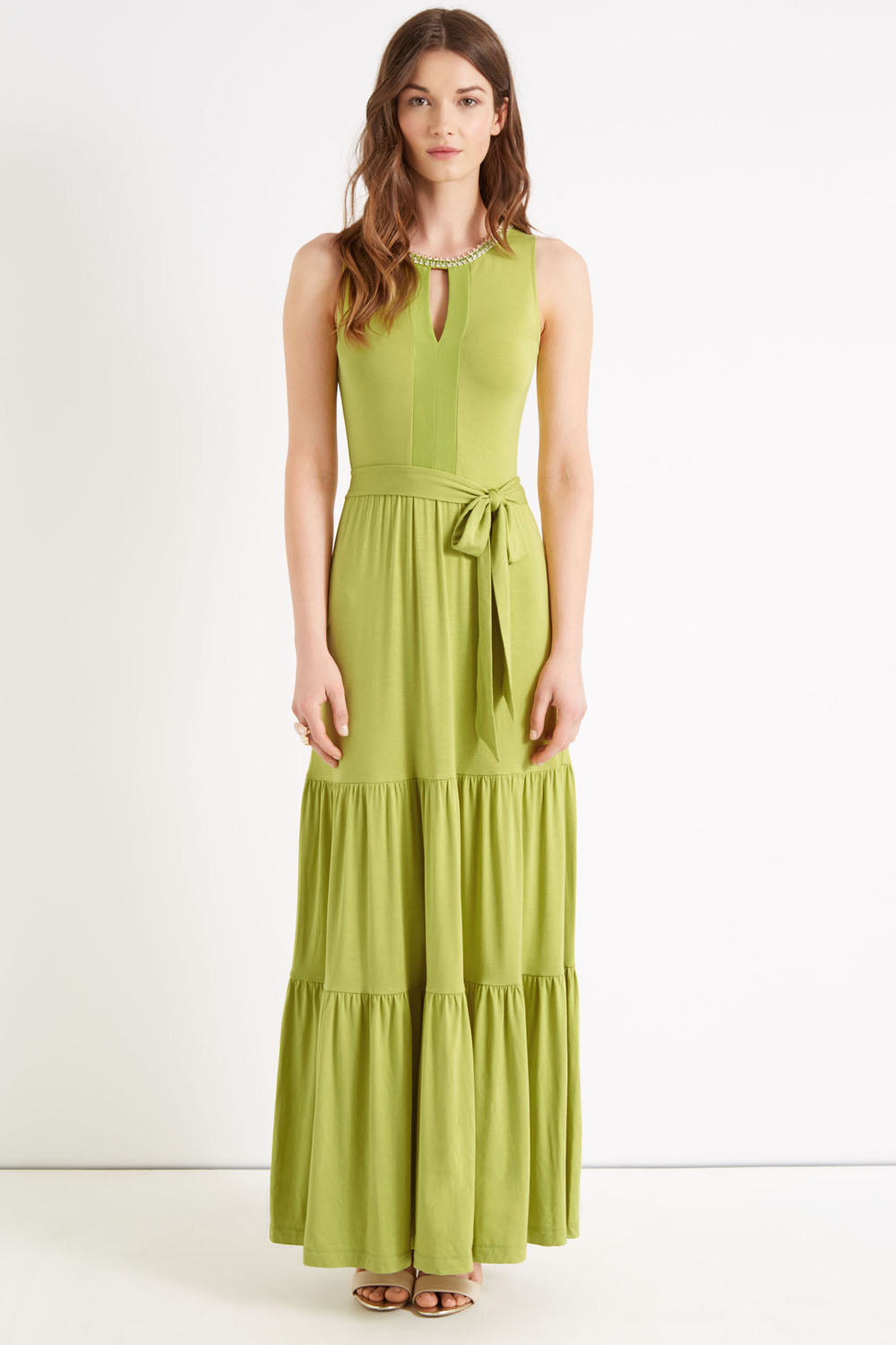 Oasis Necklace Halter Maxi Dress In Green Lyst