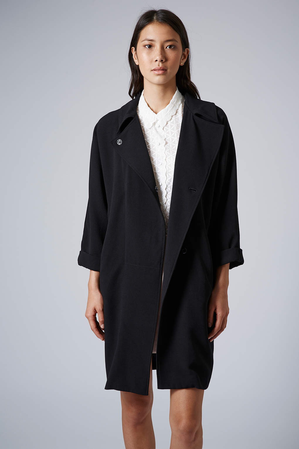 Lyst Topshop Womens Crimped Duster Coat Black In Black