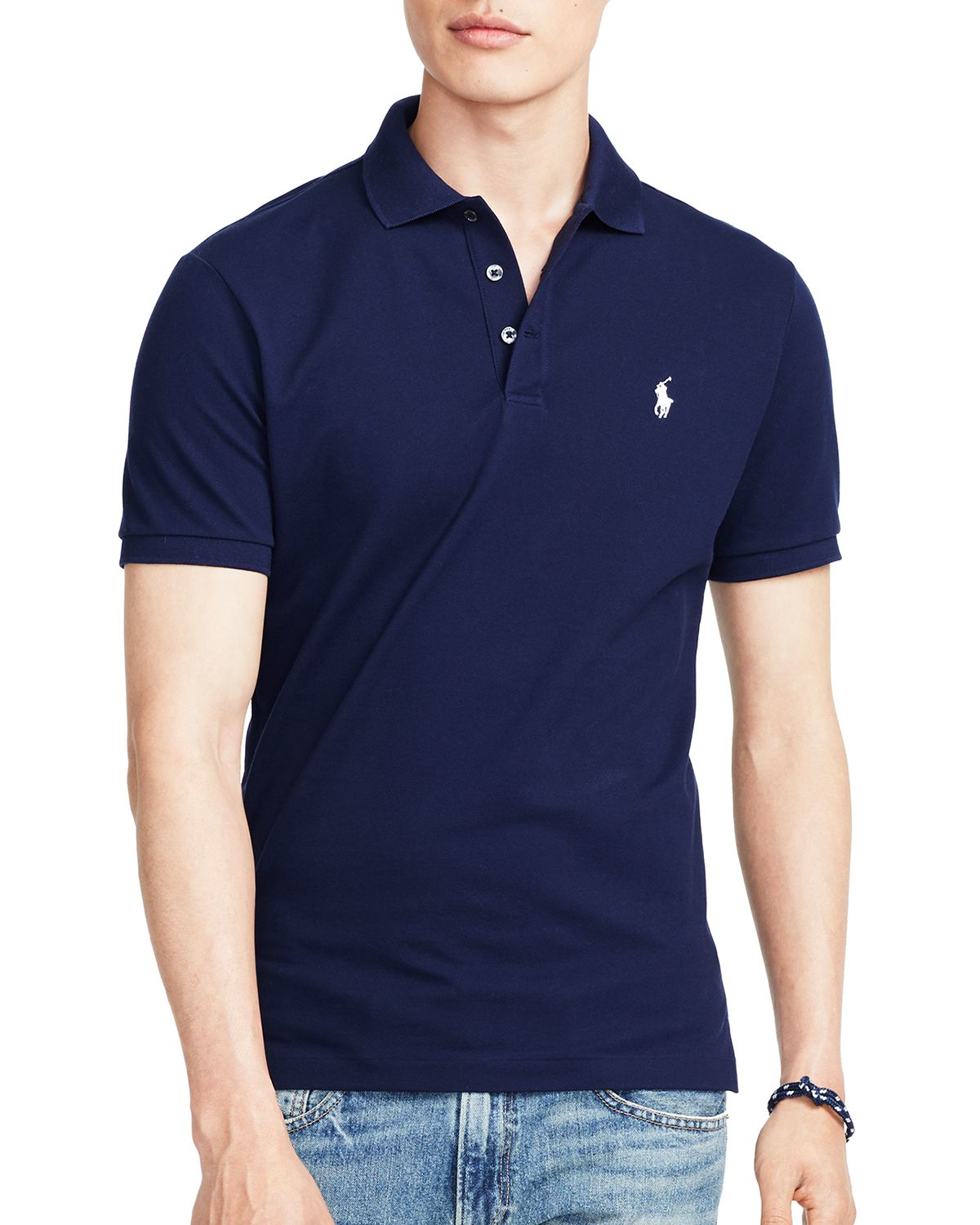 ralph lauren polo stretch mesh slim fit polo shirt in blue. Black Bedroom Furniture Sets. Home Design Ideas