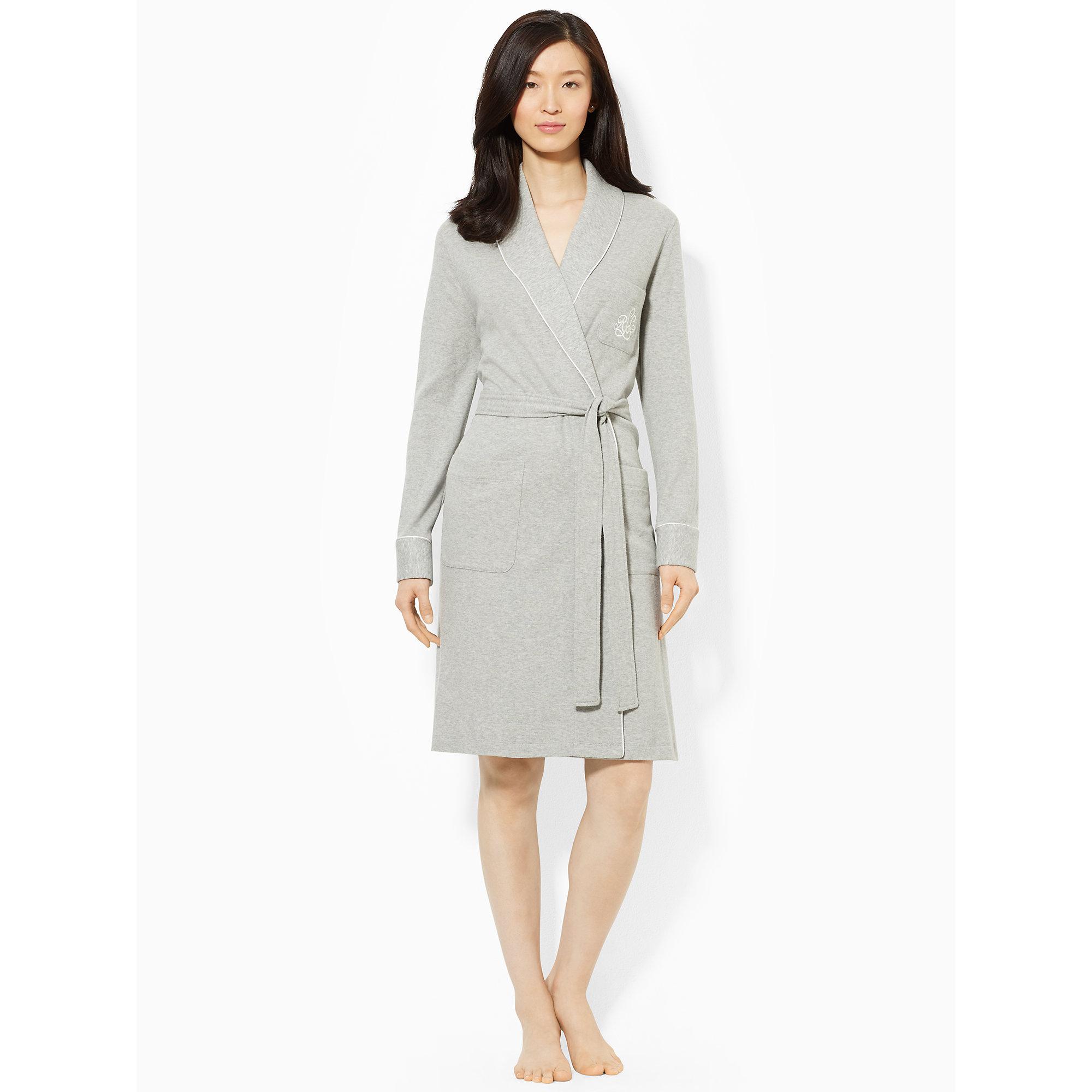 ralph lauren short shawl collar robe in gray grey heather lyst. Black Bedroom Furniture Sets. Home Design Ideas