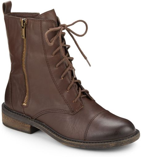 Lucky Brand Nolina Leather Combat Boots In Brown Tobacco