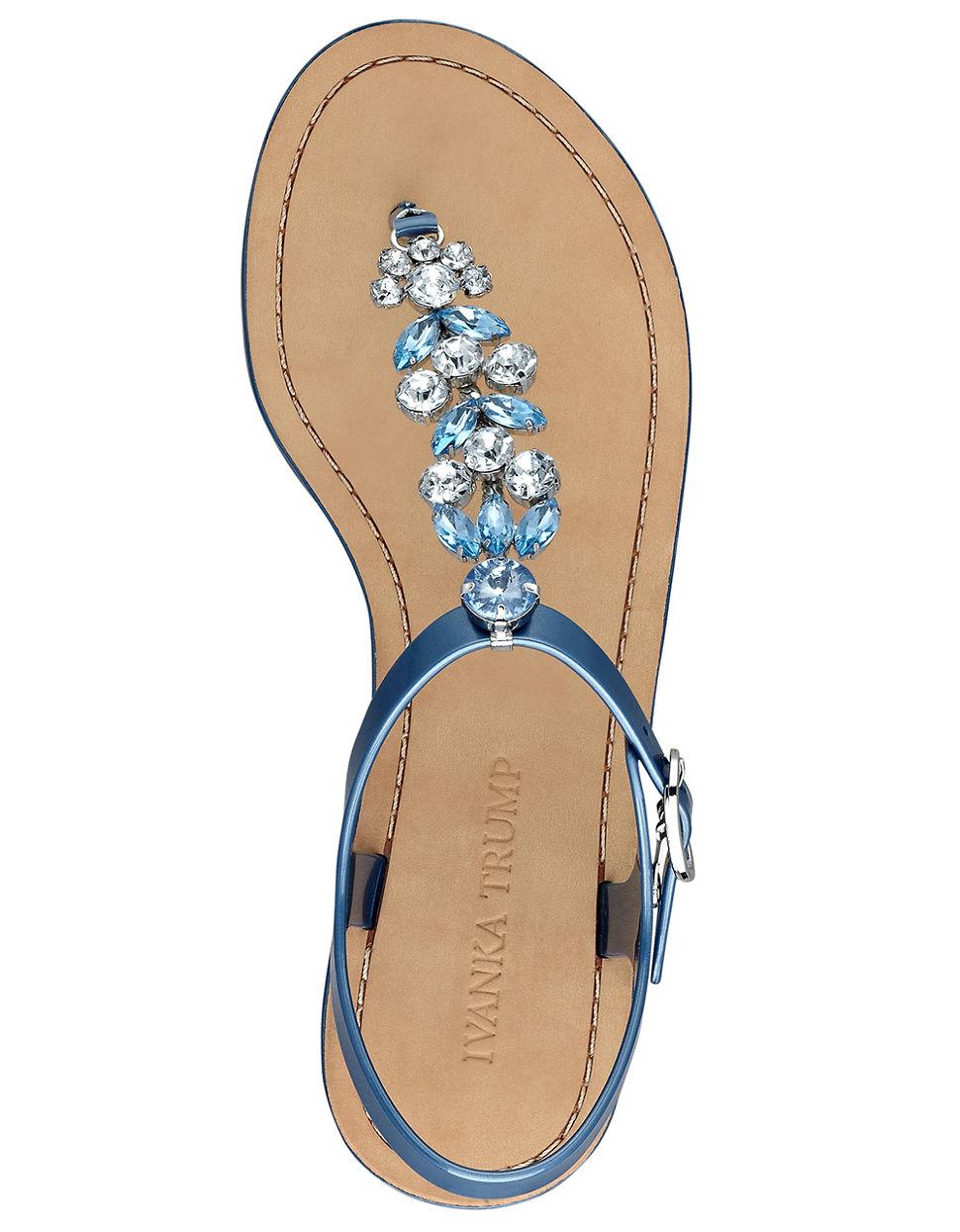 Ivanka Trump Areya Jeweled T Strap Sandals In Blue Lyst