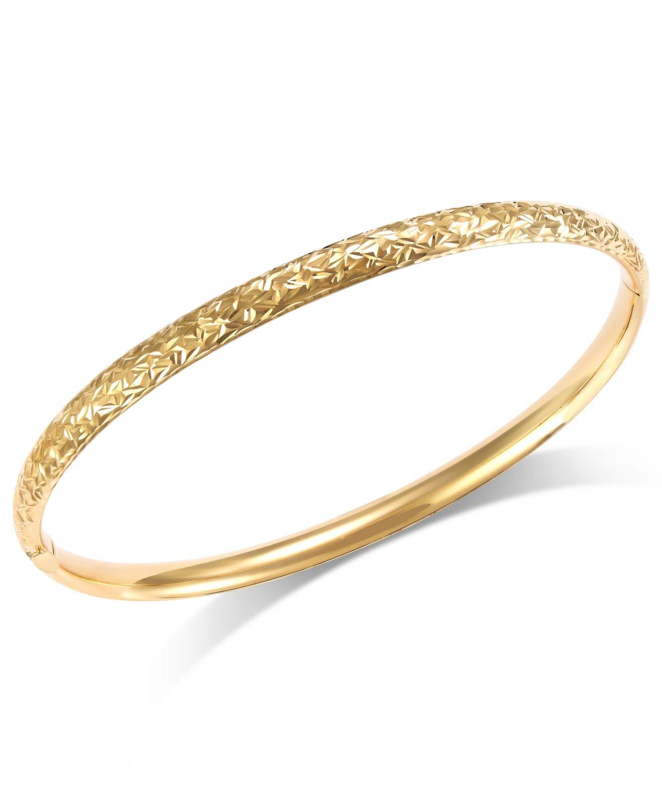 macy s cut hinge bangle bracelet in 14k gold in