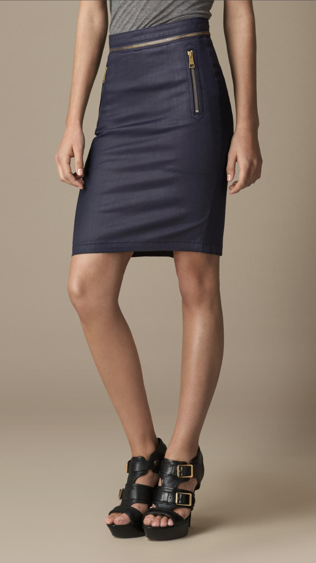 Burberry Coated Stretch Denim Pencil Skirt in Blue | Lyst