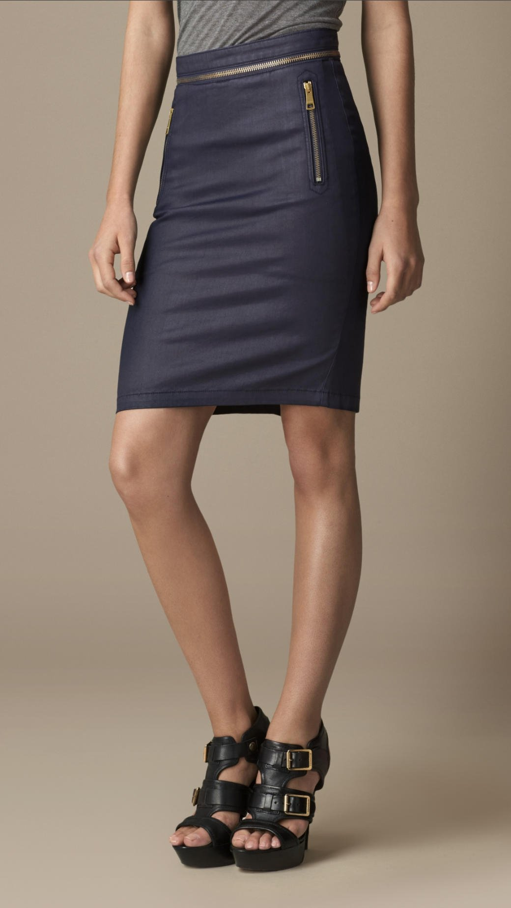 burberry coated stretch denim pencil skirt in blue indigo