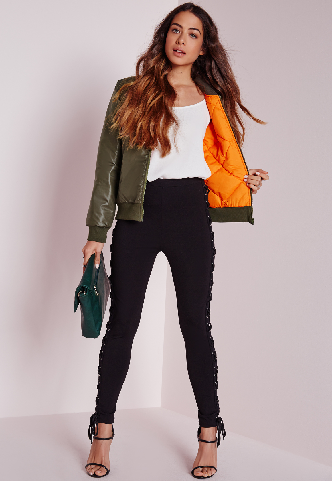 Lyst Missguided Wet Look Bomber Jacket Slim Fit Olive In Green