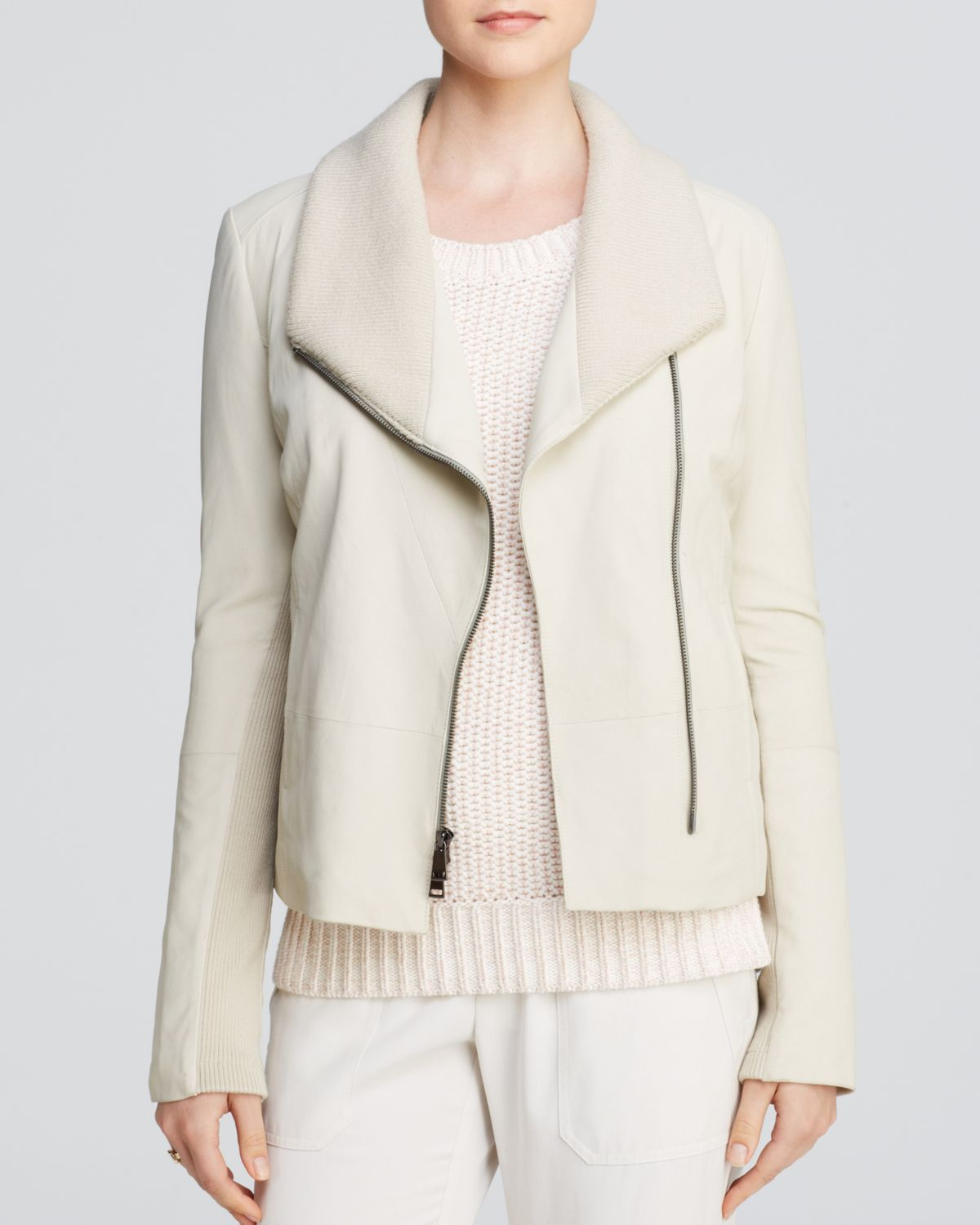 Cheap Sale Finishline Vince Rib Knit-Paneled Leather Jacket Discount 2018 With Paypal For Sale ylTxEUHz5