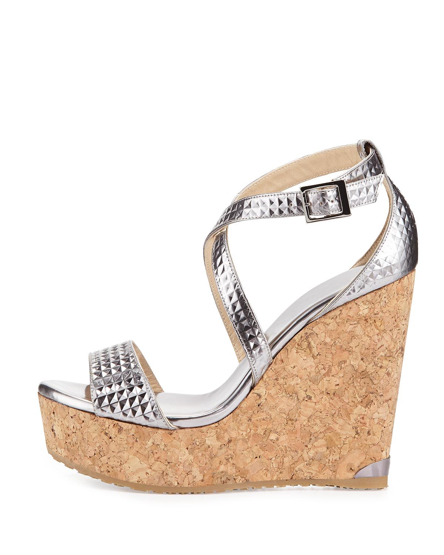 996b26c16fc7 Lyst - Jimmy Choo Portia Mirror Leather Wedge Sandal in Metallic