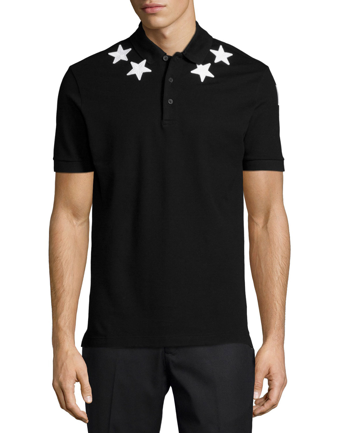 givenchy star print knit polo shirt in black for men lyst