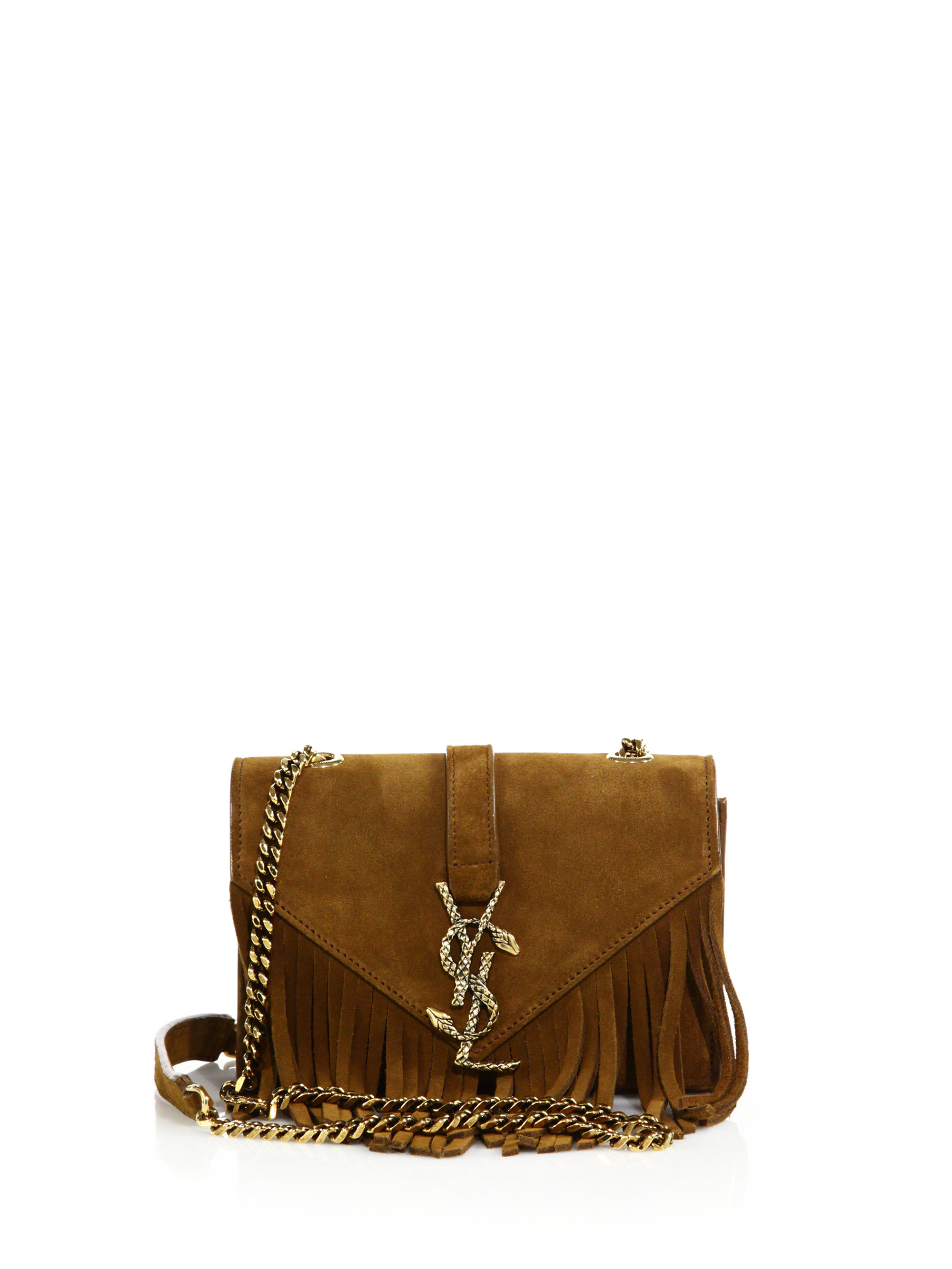 51e75356afa Saint Laurent Baby Serpent Fringed Suede Chain Crossbody Bag in ...
