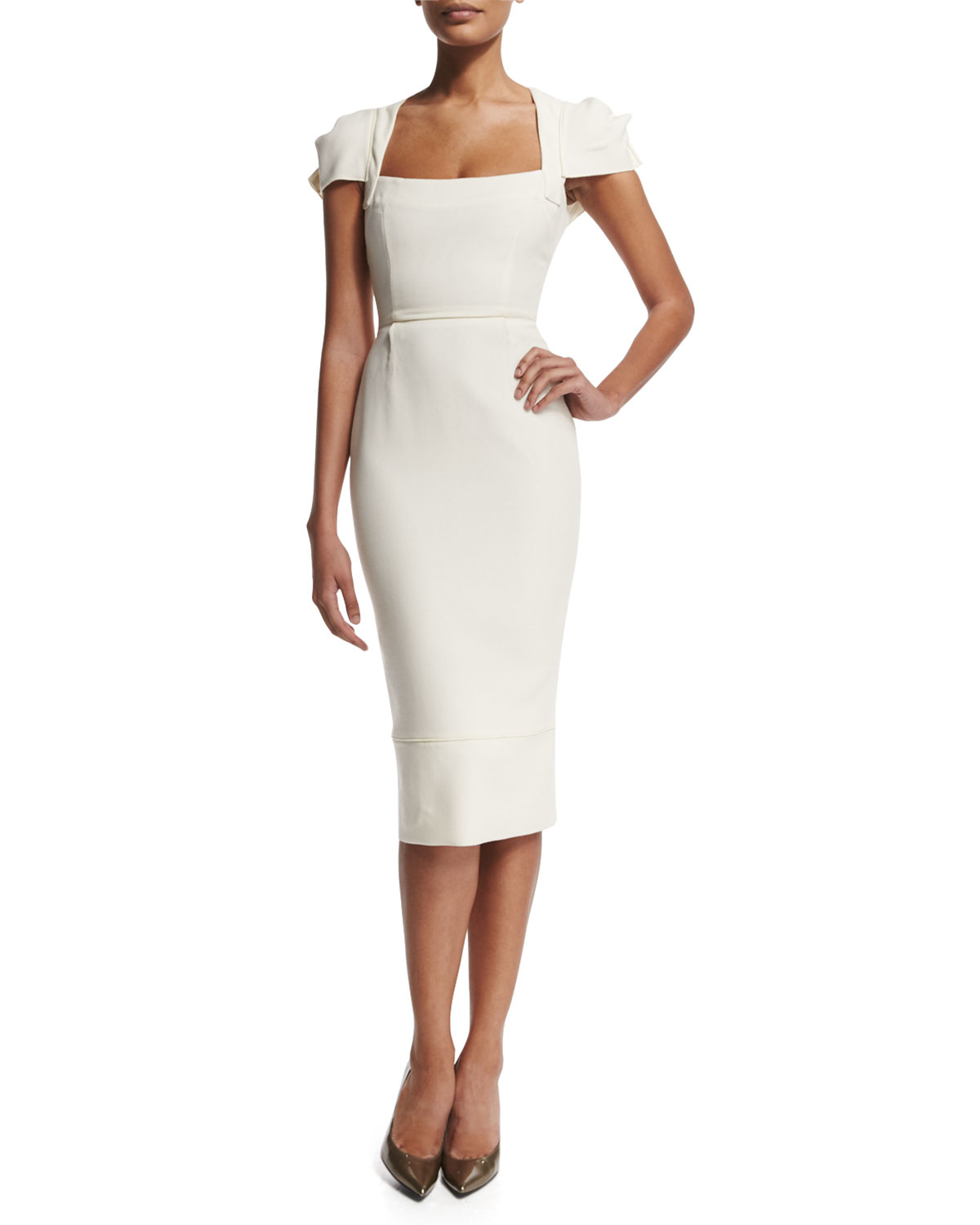 Roland mouret galaxy square neck sheath dress in white lyst