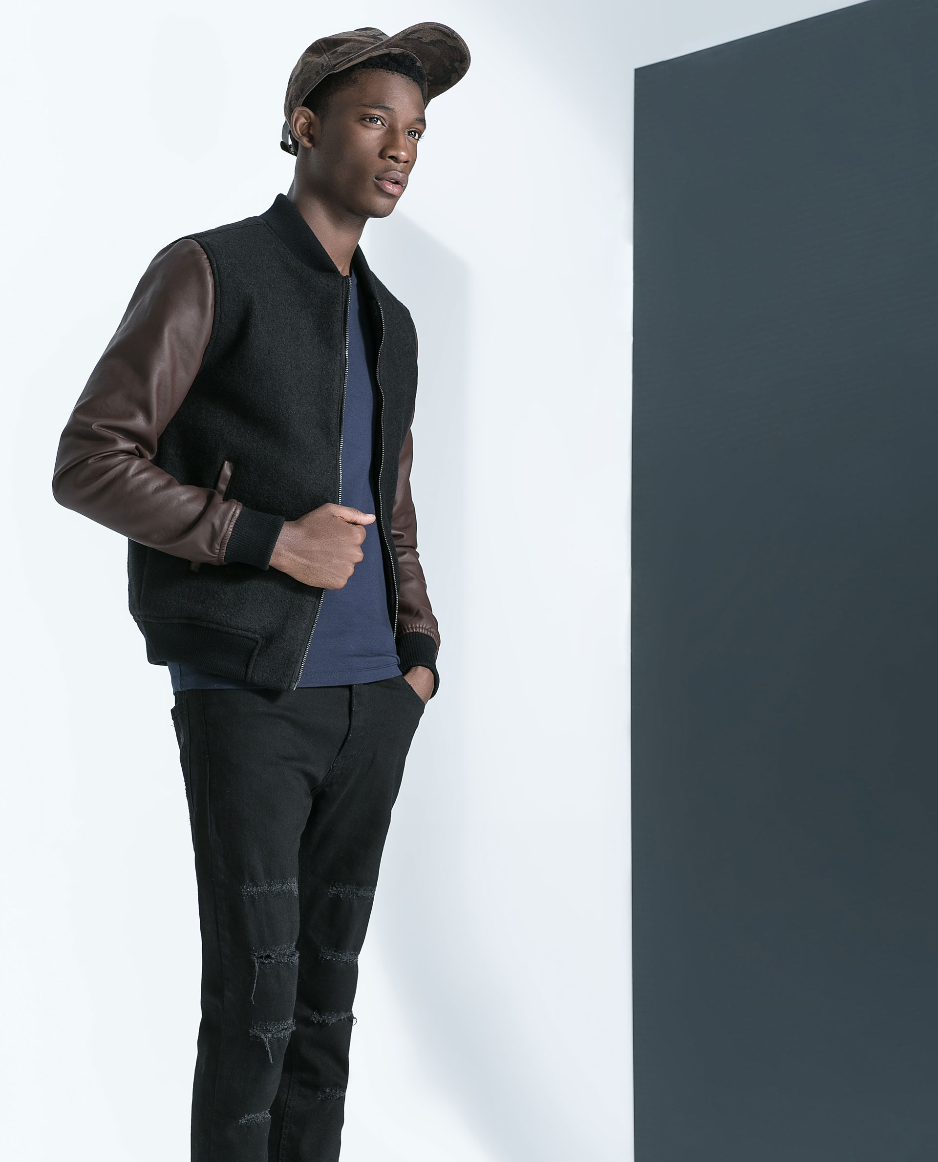 Zara Combination Bomber Jacket in Black for Men | Lyst
