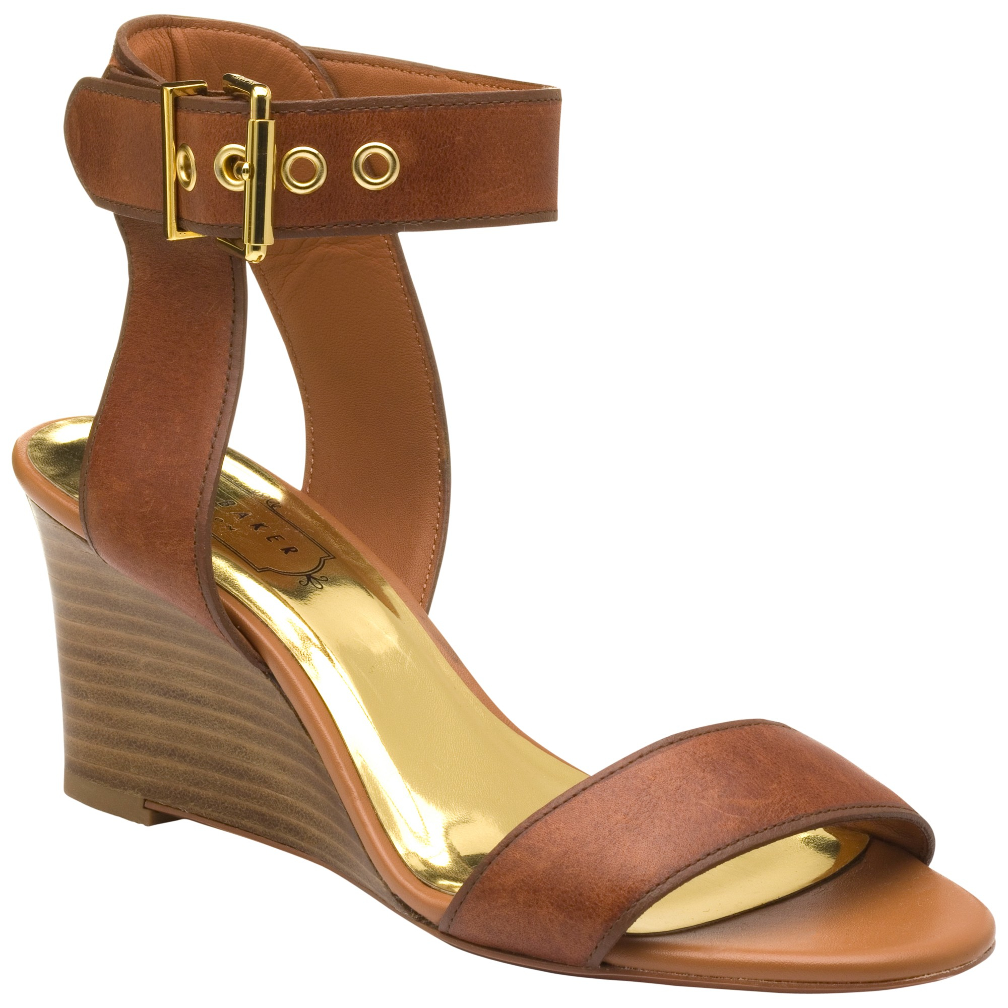 5f81bd5fd7d3 Ted Baker Lernox Wedge Sandals in Brown - Lyst