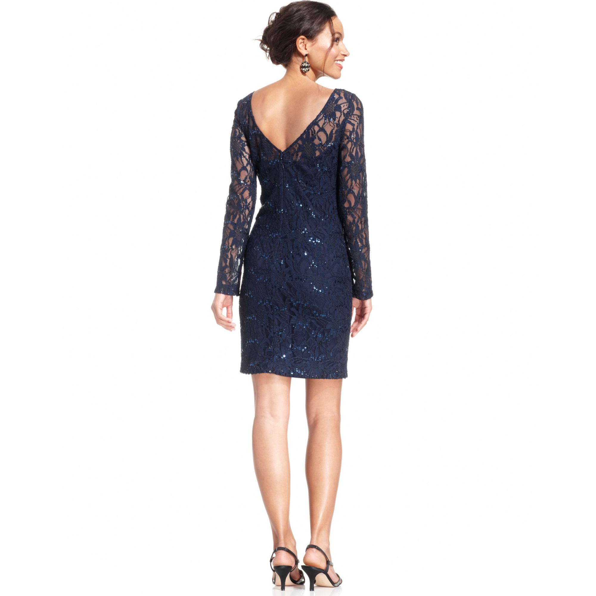 Lyst Js Collections Longsleeve Sequin Lace Dress In Blue