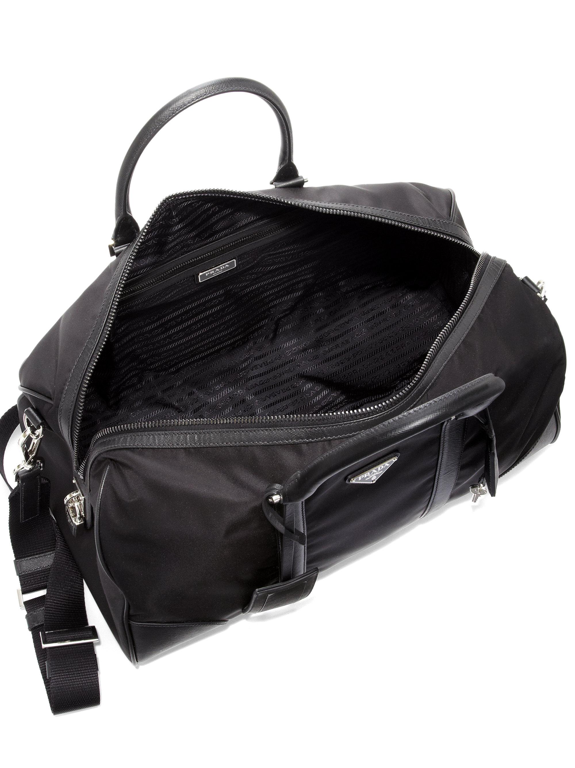 4fd1778c692aea ... denmark lyst prada nylon saffiano leather duffel bag in black for men  be63b 0c026