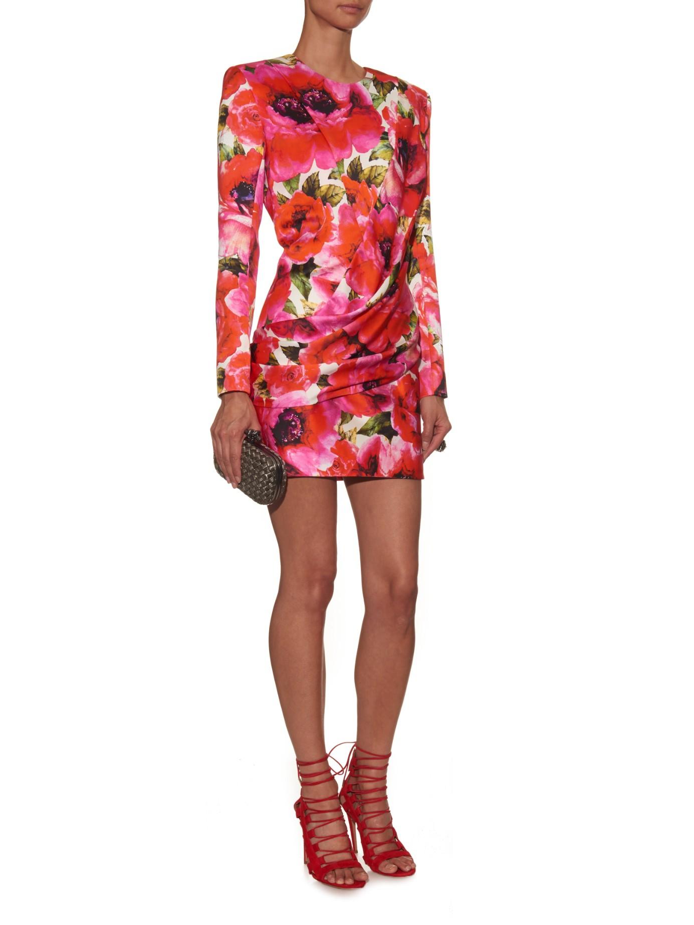 Lyst - Balmain Floral-print Satin Mini Dress 461919b7b