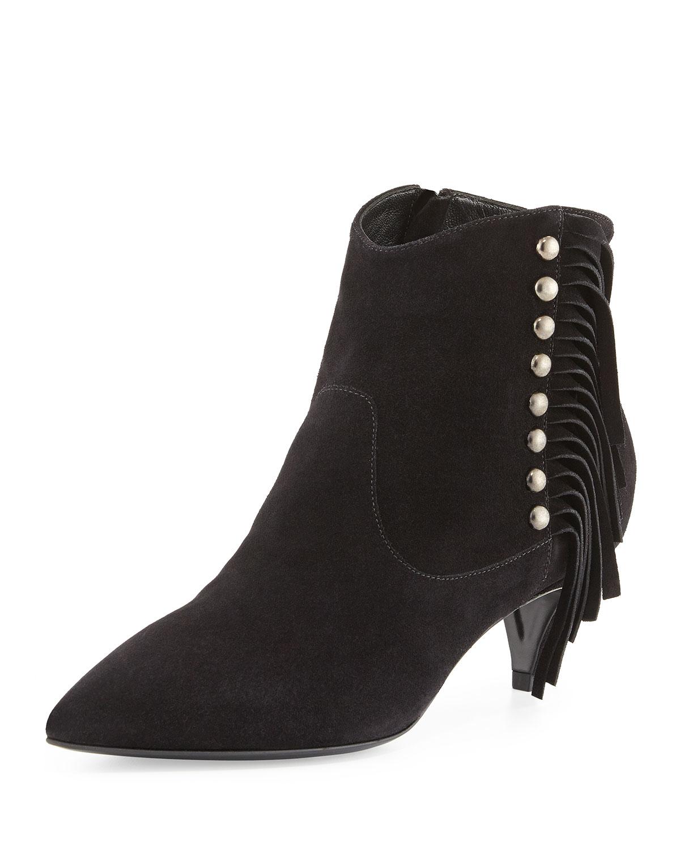 Saint laurent Suede Side-fringe Ankle Boot in Black | Lyst