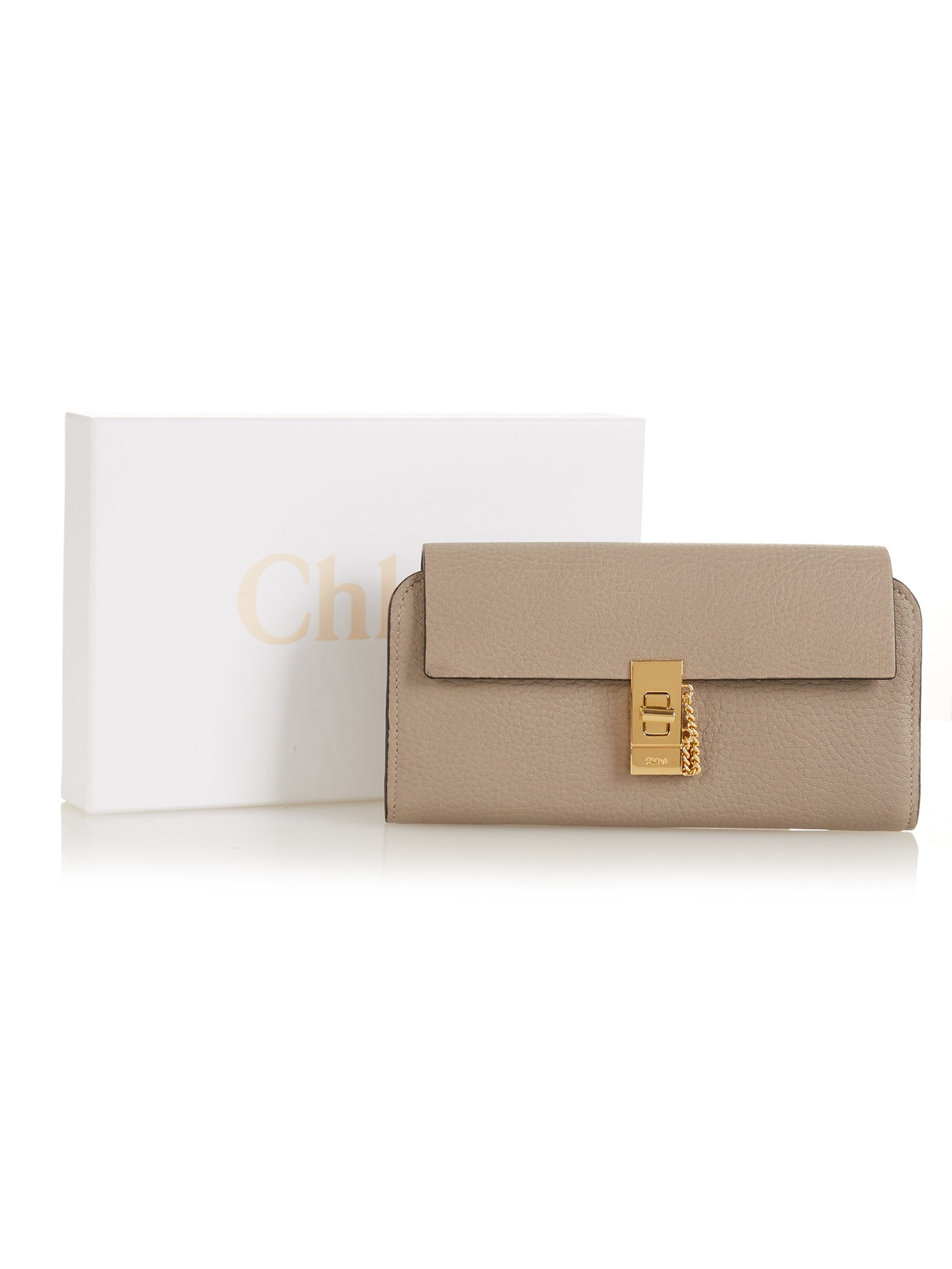 chloe tan leather long georgia wallet