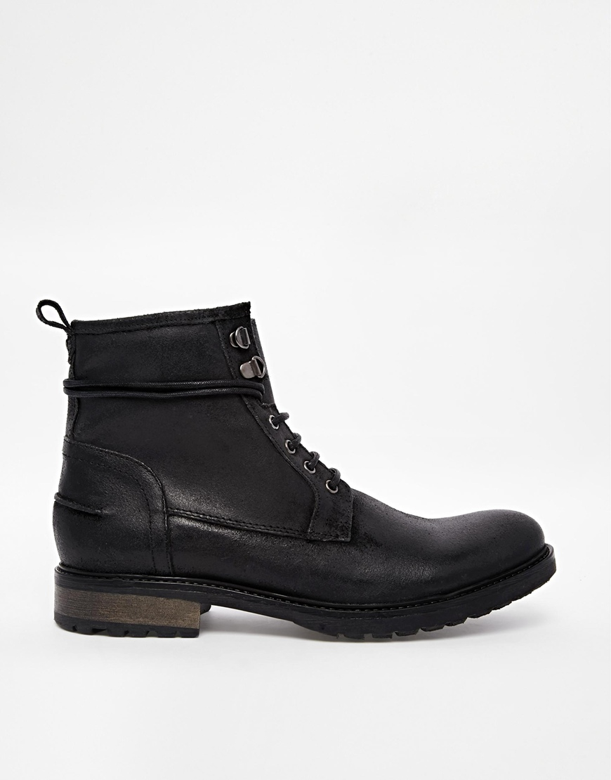 asos work boots in black leather in black for lyst