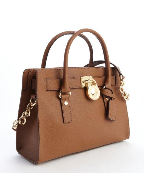 Lyst Michael Kors Camel Brown Leather Hamilton Logo Lock Clasp Convertible Top Handle Bag In