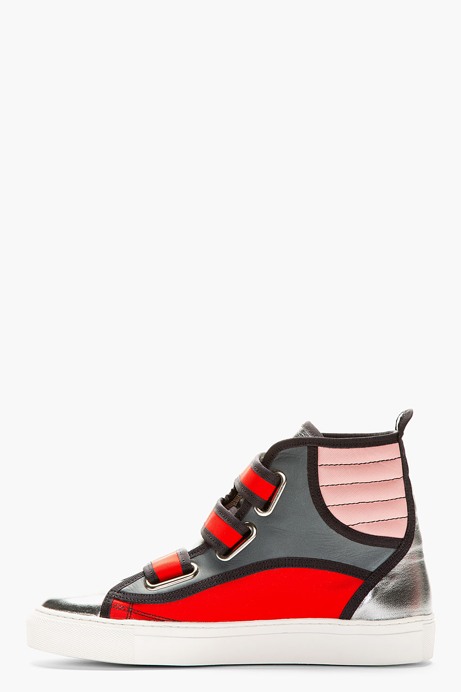 Lyst Raf Simons Red And Grey High Top Sneakers In Red