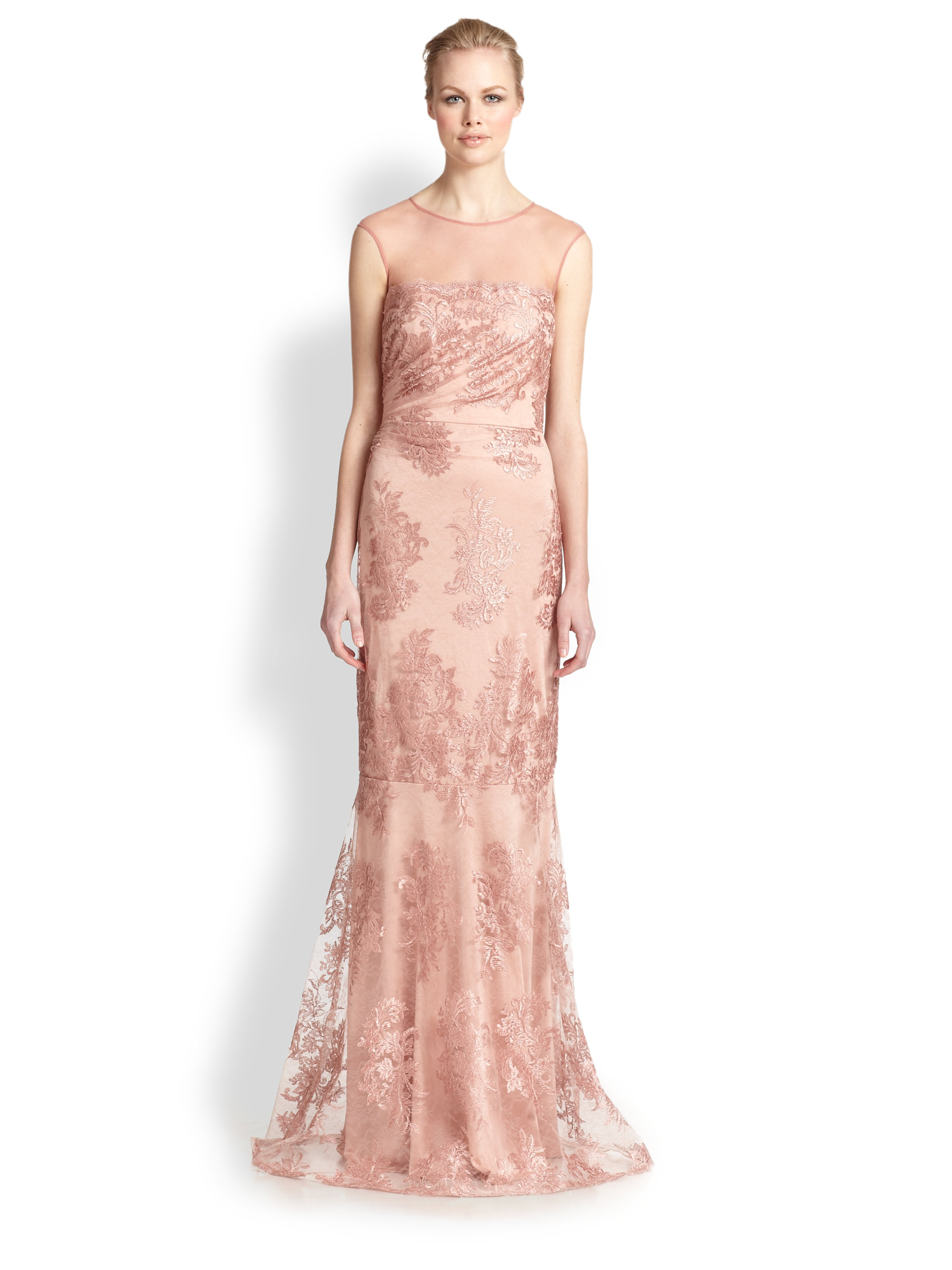 Lyst - David Meister Lace Gown in Pink
