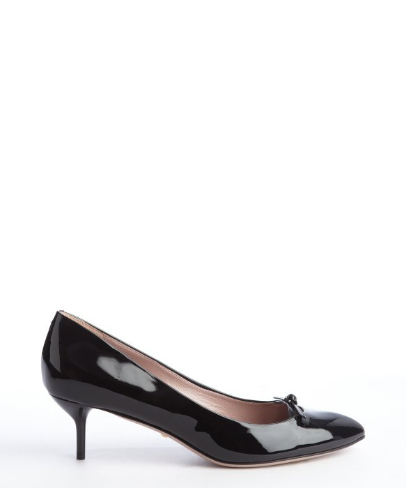 Gucci Black Patent Leather Pointed Toe Kitten Heel Pumps in Black ...