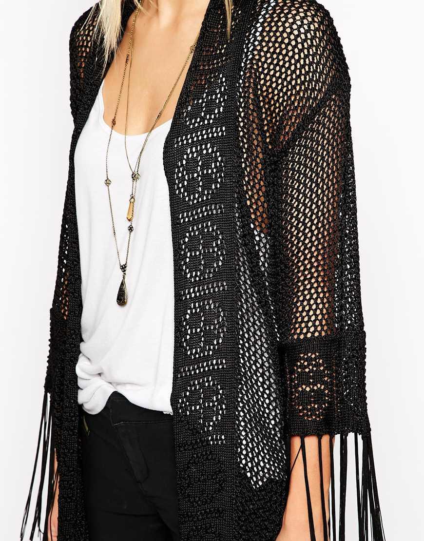 Asos Premium Longline Crochet Cardigan With Fringing in Black | Lyst