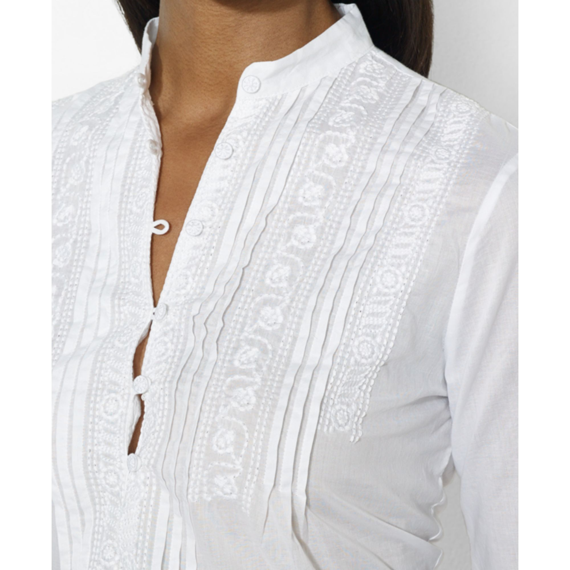 lauren by ralph lauren longsleeve embroidered standcollar blouse in white lyst. Black Bedroom Furniture Sets. Home Design Ideas