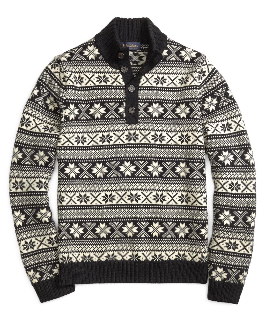 Brooks brothers Merino Wool Fair Isle Mockneck Sweater in Black ...